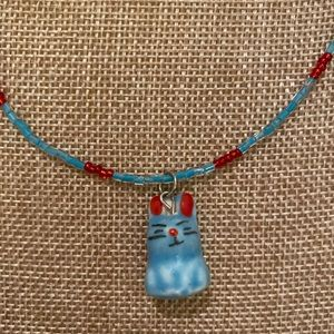 Child's Seed Bead Necklace, Blue Ceramic Bunny
